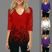 Women Lace Long Sleeve T-Shirt Top Casual V Neck Pullover Blouse Print Flor Y9U0