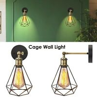 Vintage Retro Industrial Loft Rustic Cage Wall Sconce Wall Lights Porch Lamp