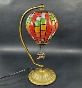 """Hot Air Balloon Desk Table Lamp Tiffany Style 12.5"""" Tall 5.5 """" Round"""