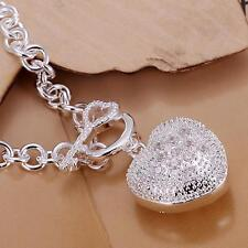 2016 New .925 Sterling Plated Stamped Silver Link Chain Padlock Charm Bracelet