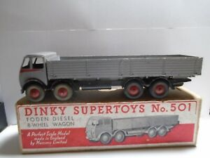 Dinky Toys 501 high sided 1st type Foden 8 wheeled truck in grey/red  BOXED