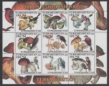 Russia - Turkmenistan  5787 - 2000 FUNGI - MUSHROOMS & BIRDS perf sheet of 9 u/m