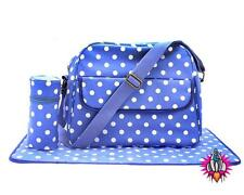 BLUE POLKA DOT OILCLOTH MUM PRAM SHOULDER BAG BABY CHANGING MAT BOTTLE HOLDER
