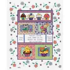 NEW! 2013 Janlynn SWEET AS A CUPCAKE Baby Birth Record Counted Cross Stitch Kit