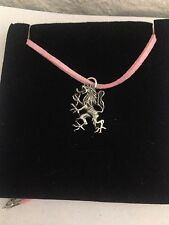 Lion Rampant R37 Pewter Pendant on a PINK CORD Necklace