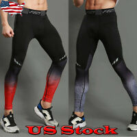 Men's Sport Running Long Pants Gym Compression Tights Quick Dry Fitness Trousers