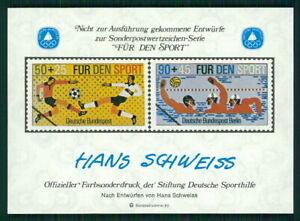 GERMANY SOUVENIR SHEET 1980 FOOTBALL SOCCER WATER POLO SPECIMEN PROOFS fa41