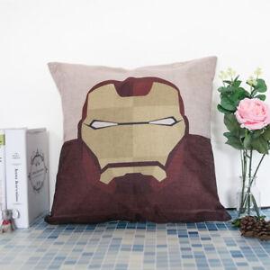 """18"""" American Cushion Cover Superheroes Throw Pillow Case Cotton Linen Sofa Decor"""
