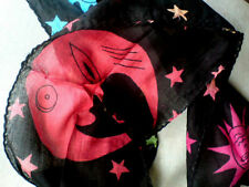 "COTTON MULTI-COLOURED SUN,MOON,STAR SCARF / HAIR TIE 15 X 100CM(6"" X 40"")"