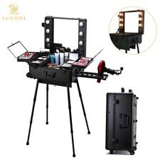 Lighted Makeup Station Wheeled Beauty Cosmetic Case Salon Studio Trolley & Legs