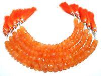 "1 Strand Natural Carnelian Rondelle Faceted 6-8mm Gemstone Beads 6""Inch,Orange"