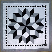 Black & Grey Broken Star w/ Hand Applique borders - FINISHED QUILT - King size