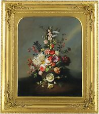 More details for still life with flowers original oil painting 20th century european school
