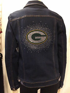 GREEN BAY PACKERS NFL Womens Best Selling Bling Jean Jacket NWT $180 SM-4X