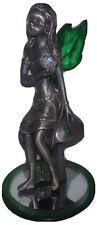 "Pewter Fairy 4"" Pixie Figurine ; Statue ; Emerald Color Wings ; Sits on Mushroom"