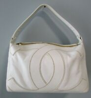 CHANEL Coco Chanel Logo Caviar Pebbled Leather Shoulder Bag White CC ITALY