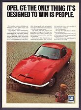 """1971 Buick Opel GT Coupe photo """"Designed to Win People"""" vintage promo print ad"""