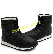 Unisex Mens Womens Fleece Waterproof Snow Ankle Boots Winter Warm Thicken Shoes
