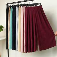 Women Lady Summer Pleated Wide Leg High Waist Casual Trousers Loose Crop Pants