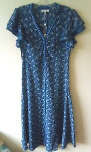 Max Studio Blue Midi Dress Sz  S 8 10 Ditsy Floral Crepe Green Frill Buttons New