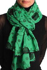 Black Sewn On Circles On Green Unisex Scarf (SF001415)