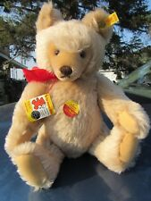 "VINTAGE MOHAIR 16"" APRICOT STEIFF ORIGINAL TEDDY BEAR ADORABLE W EAR BUTTON TAGS"