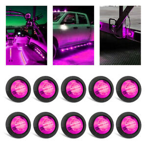"""10x 3/4"""" Round Purple Pink LED Clearance Bullet Marker Lights Truck Boat Trailer"""