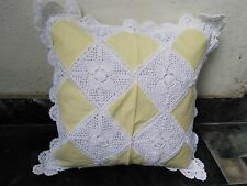 """LINEN LACE CUSHION COVER   18""""x 18"""" WHITE and YELLOW COLORED HANDMADE"""
