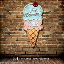 Retro Metal Tin Signs Ice Cream Shaped Hainging Poster Bar Pub Shop Decor Art