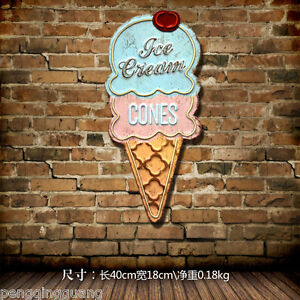 Retro Metal Tin Signs Ice Cream Shaped Hainging Poster Bar Pub Shop Decor Art