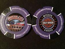 "Harley Golf Ball Marker Poker Chip Purple/Black ""Twister City"" Wichita KS ERROR"