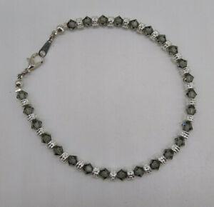 mw Swarovski Crystal Black Diamond Bicone & Silver Beaded Anklet / Bracelet Gray