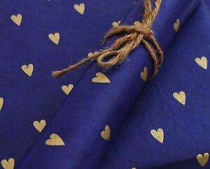 Lokta Paper, Fair Trade Wrapping Paper, Gold Heart Print, choose colour