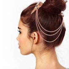 Girl Pub Punk Boho 2-Comb Fringe Hair Clip Cuff Pin Chain Tassel Band