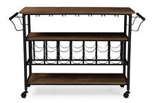 Baxton Studio Bradford Rustic Industrial Style Antique Textured Metal Distressed Wood Mobile Kitchen Bar Serving Wine Cart Black