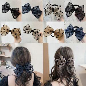 Bow Hair Band Scrunchies Polka Dot Ponytail Hair Ring Rope Mesh Hairpin Hair Tie