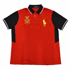 Polo Ralph Lauren Mens Shirt Gold Big Pony Custom Fit Mesh Polo Crest Red Xxl