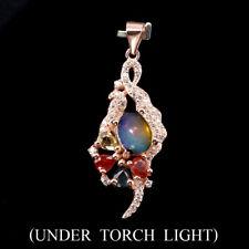 Amazing 8x6mm Rainbow Luster Fire Opal Sapphire W Cz 925 Sterling Silver Pendant