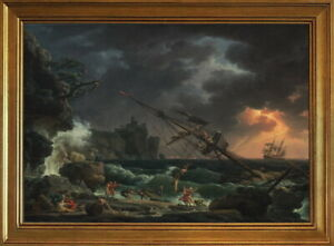 Classic Framed Claude Joseph Vernet The Shipwreck Giclee Canvas Print