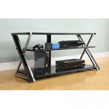 """Whalen 3-in-1 Black TV Console for TVs up to 70"""", Black Glass Shelves"""