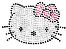 Hello Kitty Cute Car Decal Hotfix Iron On Rhinestone Bling