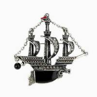 Pirate Boat Ship Pirate Vessel Dragon Sliver With Black Pearl Brooch Jewelry