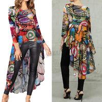 Mode Femme Loisir Ample Manche Longue Impression Asymétrique Chemise Shirt Plus