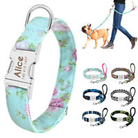 Personalized Nylon Dog Collar & Leash Custom Puppy ID Nameplate Engraved Collars