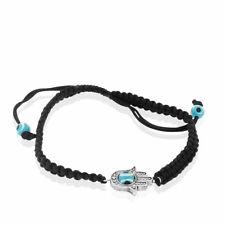 Fashion Alloy Black Cord Hamsa Evil Eye Protection Macrame Adjustable Bracelet
