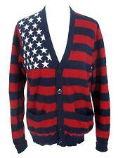 American USA Flag Boyfriend Sweater Sz L Women Red White Blue Wool Cardigan
