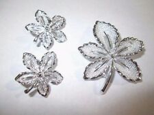 SARAH COVENTRY SHIMMERY LEAF PIN AND CLIP ON EARRINGS SET VINTAGE 1960'S