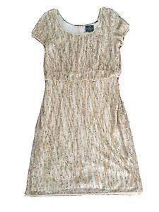 Stunning Adrianna Papell Beaded Evening Dress size UK 12 AUS 10 Beige Nude Pink