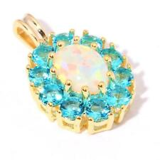 GORGEOUS GOLD PLATED WHITE  FIRE OPAL/AQUAMARINE PENDANT