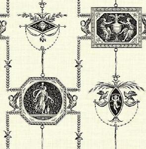 Wallpaper Designer Black French Toile on Cream Faux Birds Cherubs Angels